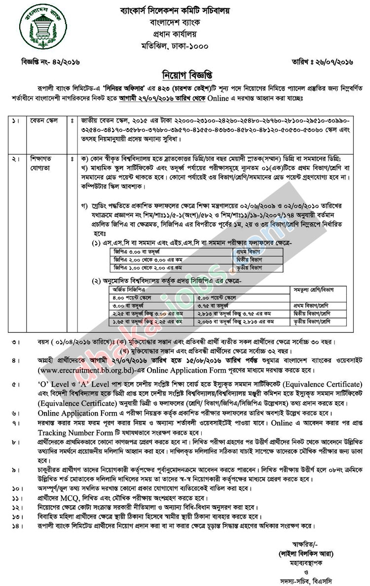 Rupali Bank Job Circular Apply Online 2016