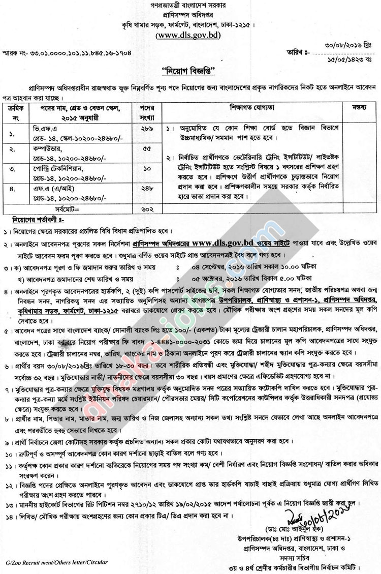 Livestock Services Department Job Circular 2016