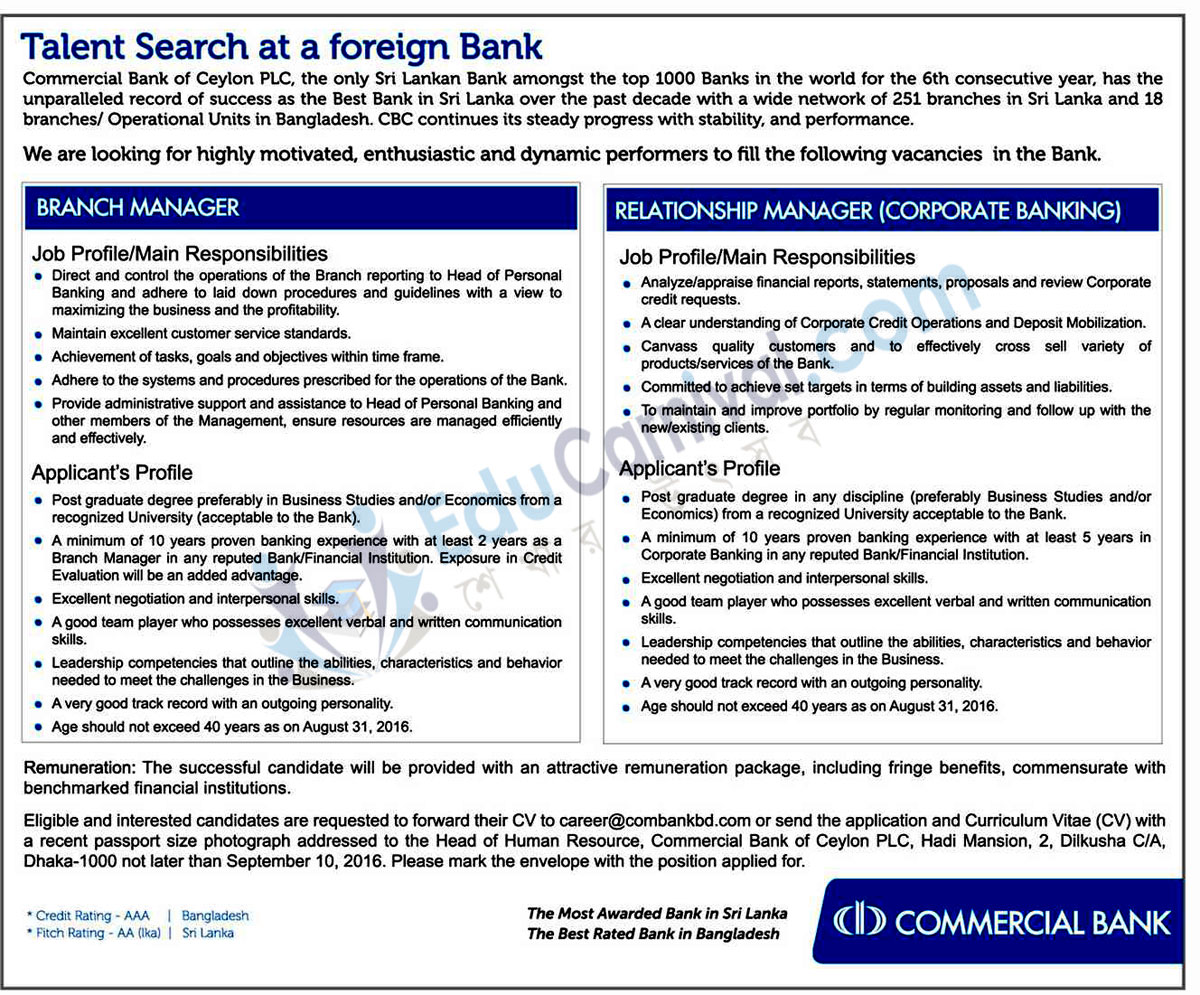 Commercial Bank Ceylon PLC Job Circular