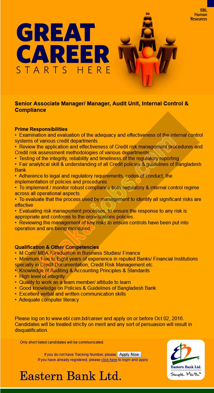 Eastern Bank Ltd Job Circular 2016