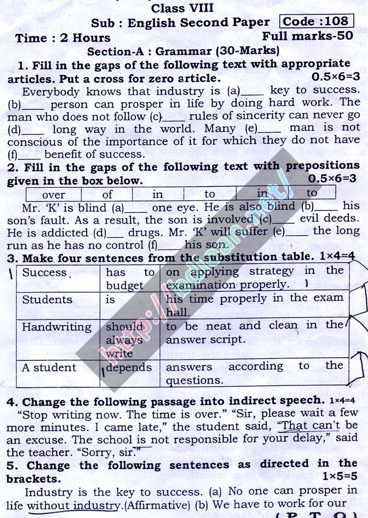 JSC English 2nd Paper Suggestion 2018