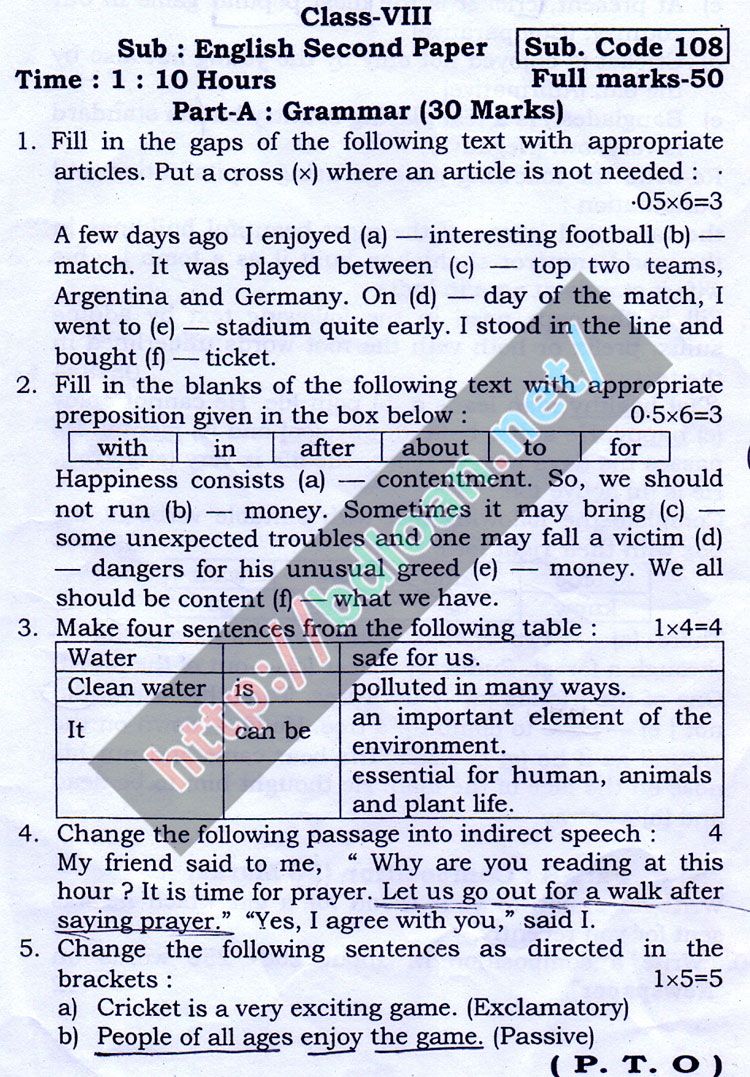 JSC English 2nd Paper Suggestion 2018