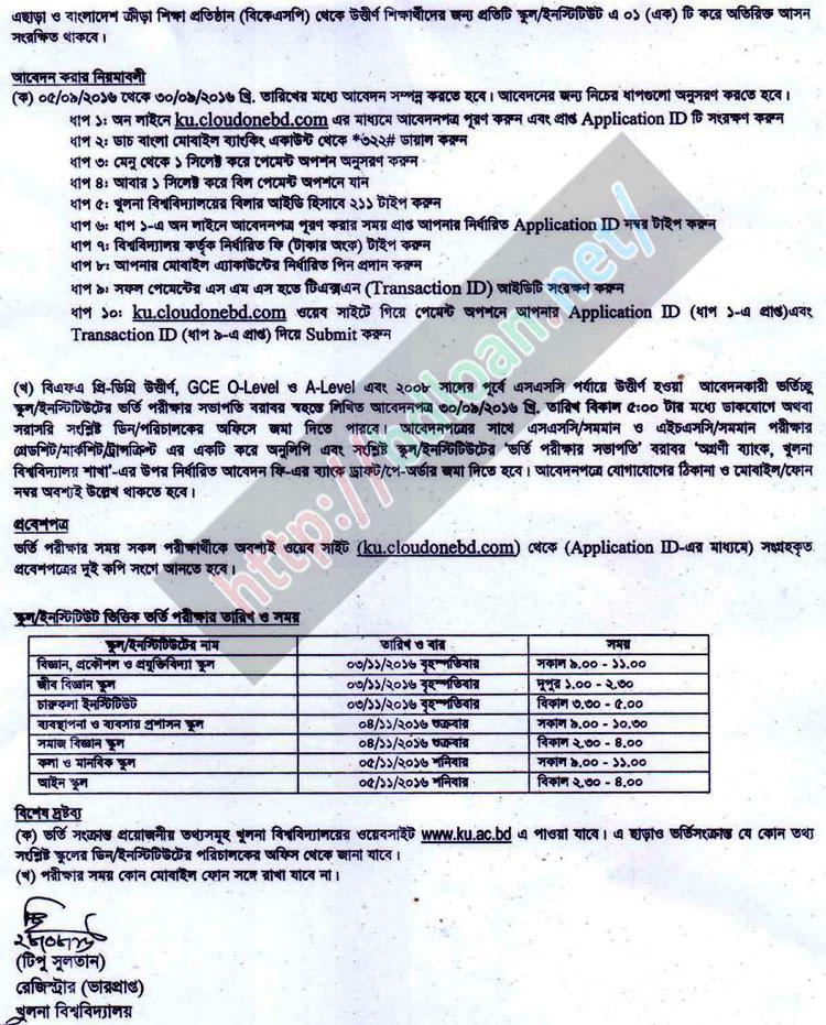 Khulna University Admission Result 2016-17