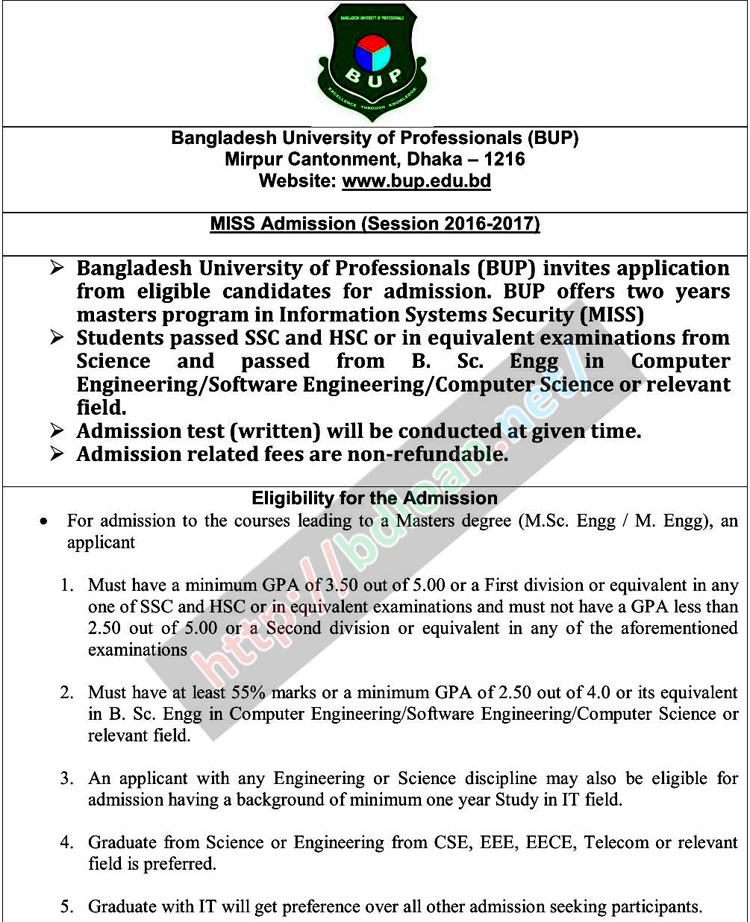 BUP Admission Result 2017-18