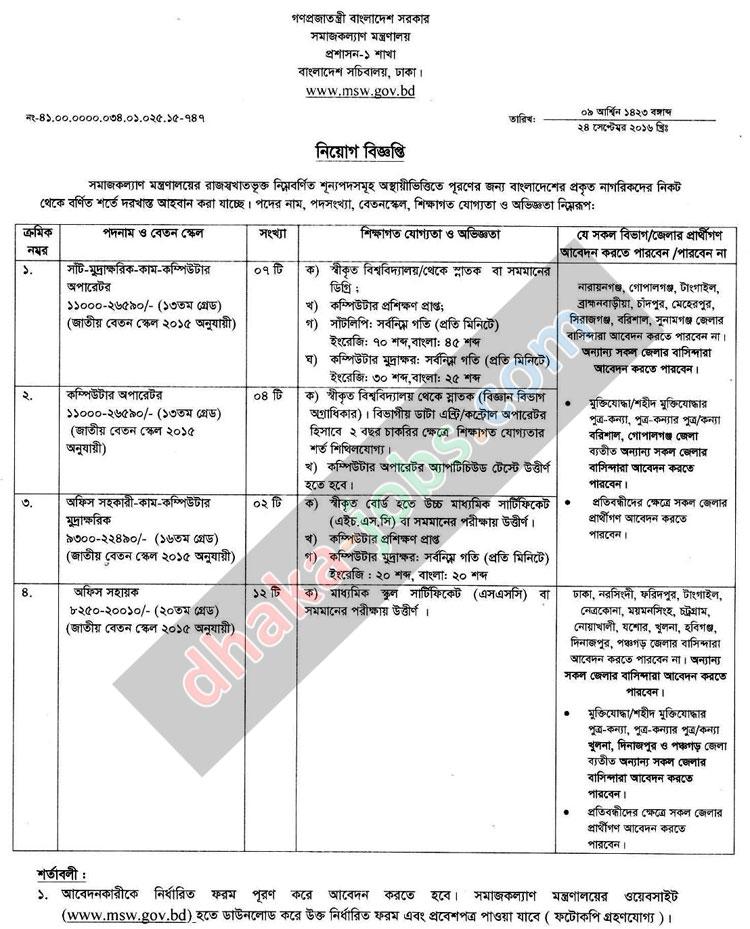 Social Welfare Ministry Job Circular 2016