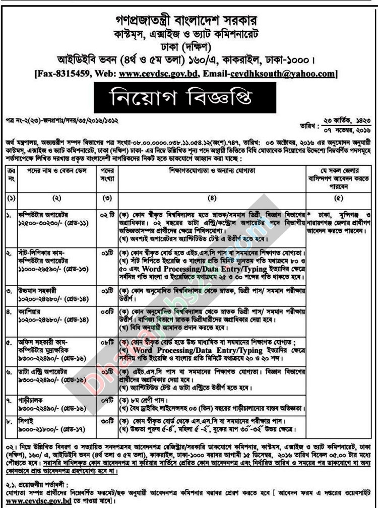 Bangladesh Custom House Job Circular 2016