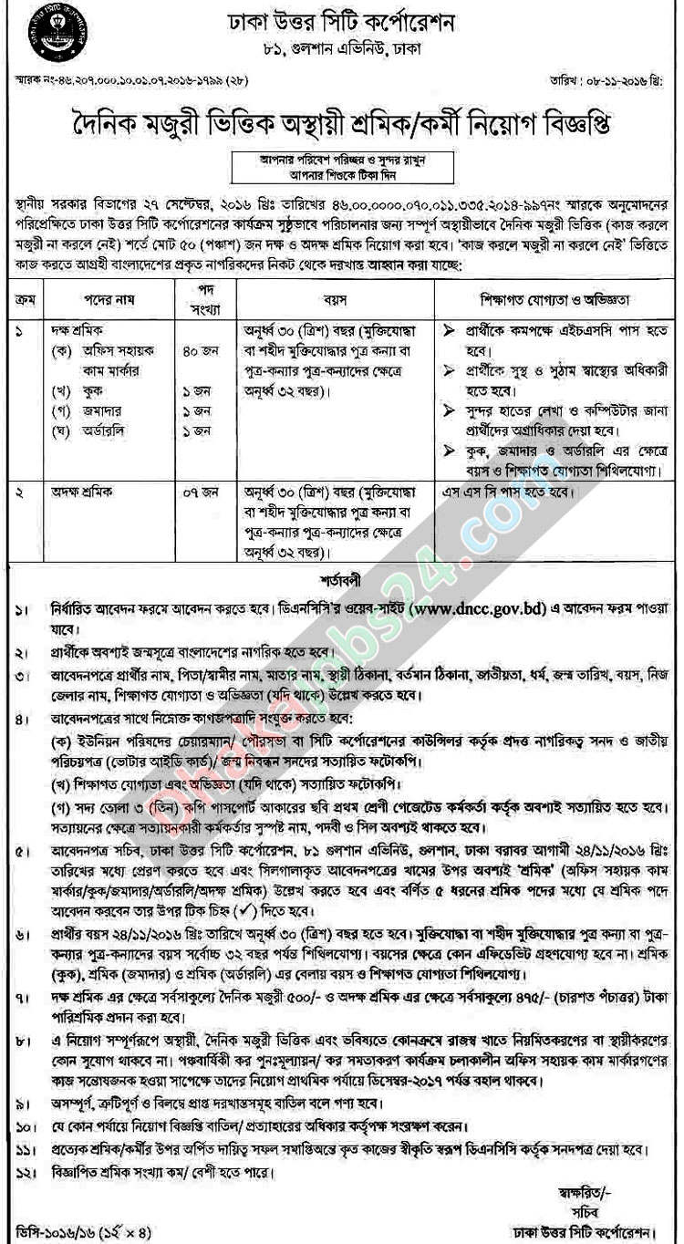 Dhaka North City Corporation Job Circular 2016