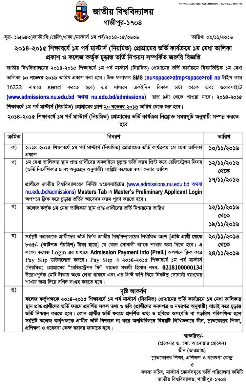 National University Masters Preli Admission Result 2014-15