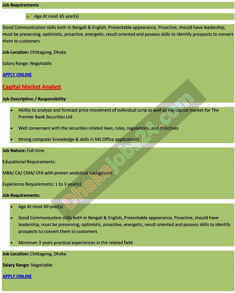 Premier Bank Limited Job Circular 2016