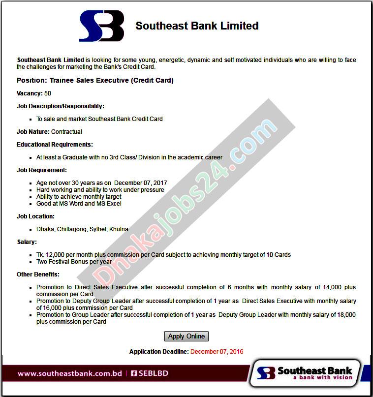 Southeast Bank Job Circular 2016