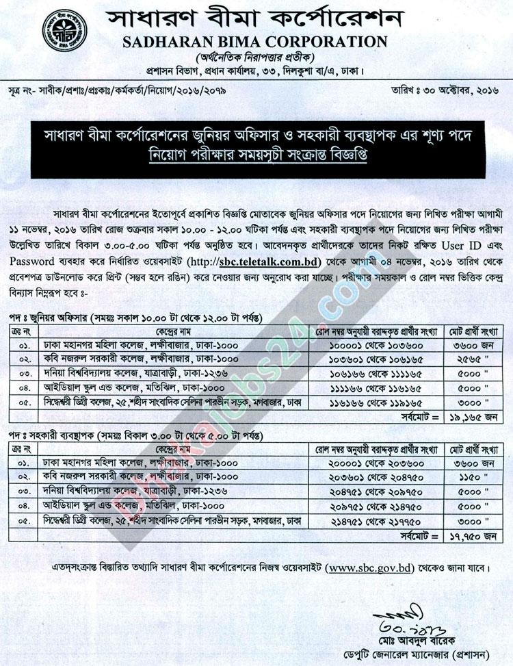 Sadharan Bima Corporation Job Result 2016