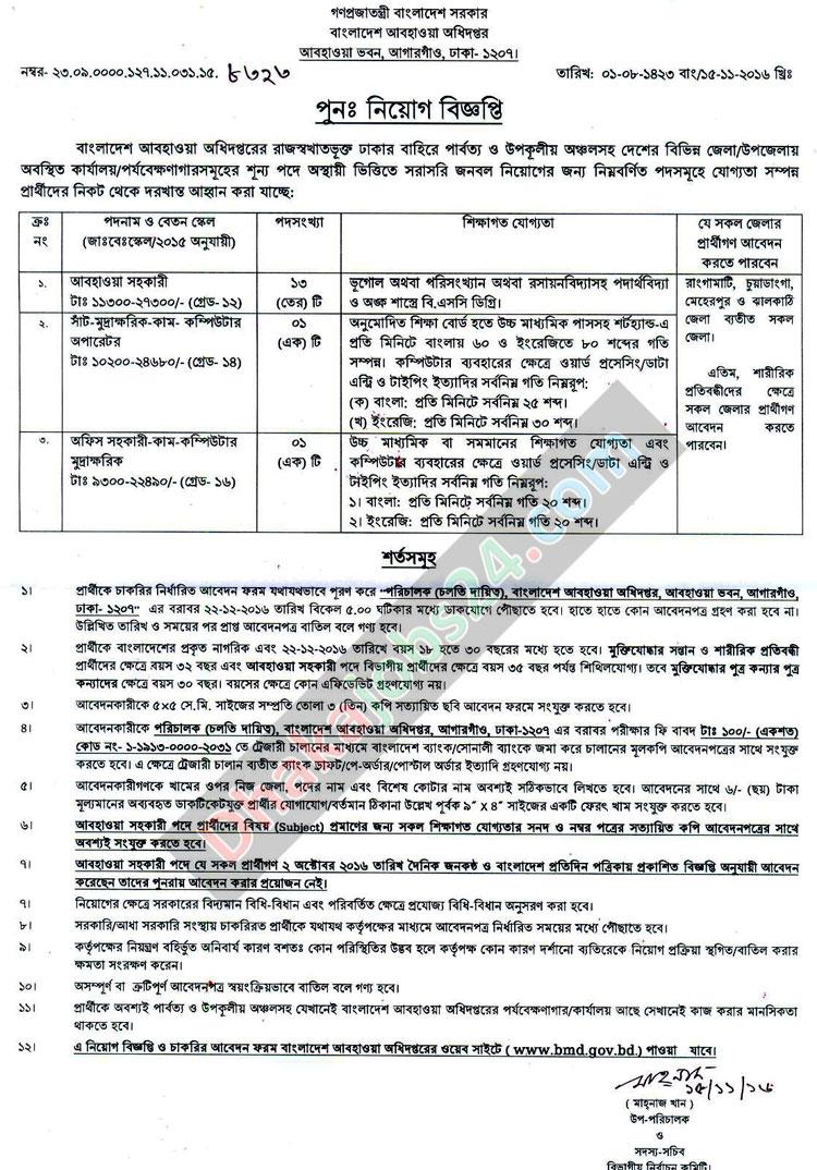 Meteorological Department Job Circular 2016