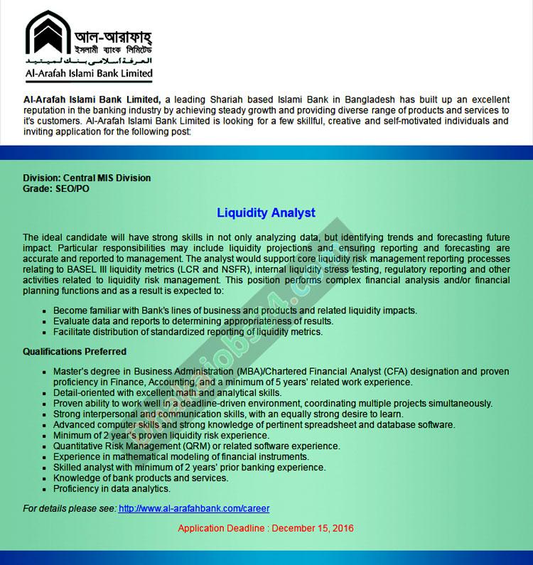 Al-Arafah Islami Bank Job Circular 2016