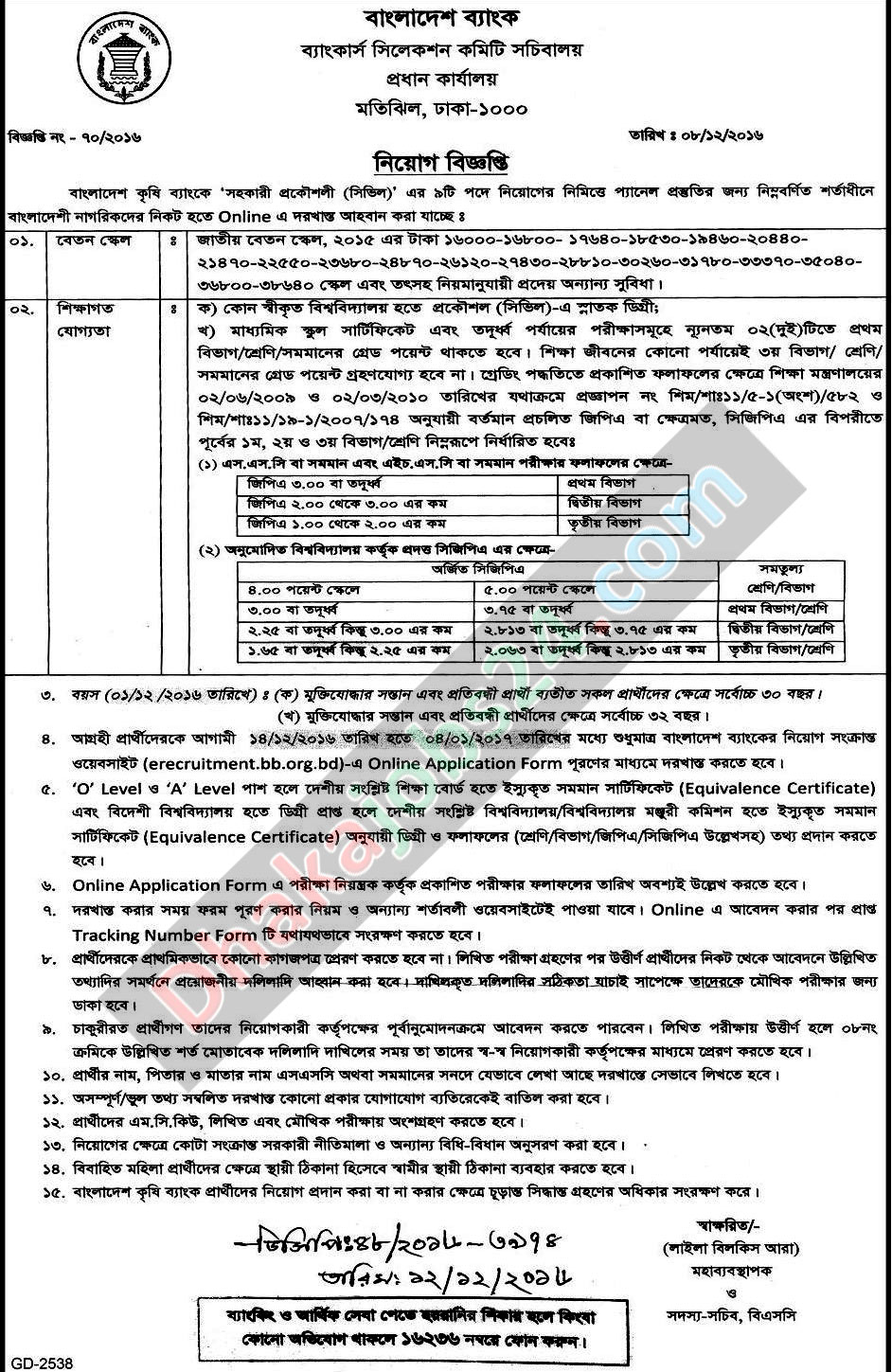 Krishi Bank Officer Job Circular 2017