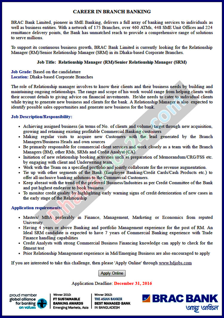 BRAC Bank Limited Job Circular 2016
