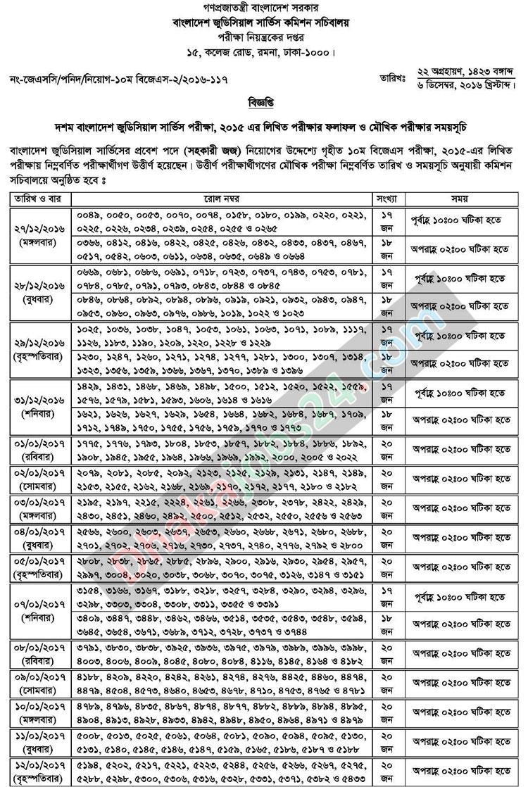 10th BJSC MCQ Written Exam Result 2016