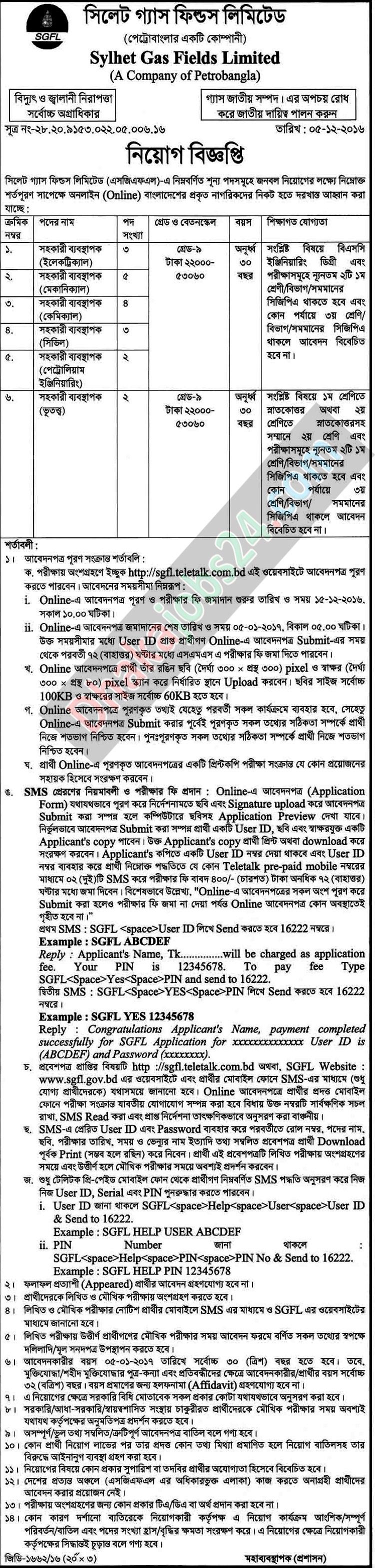 Sylhet Gas Fields Limited Job Circular 2016