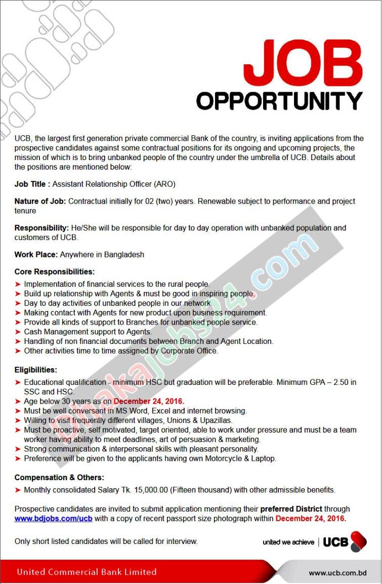 United Commercial Bank Job Circular 2016