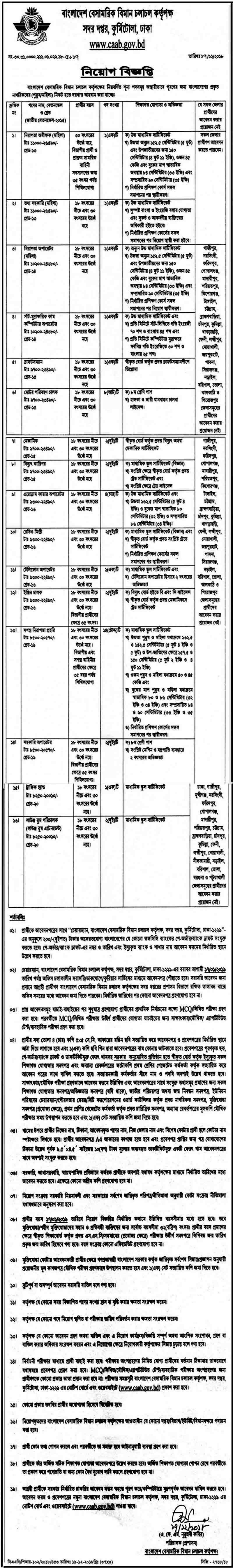 Civil Aviation Authority Job Circular 2018