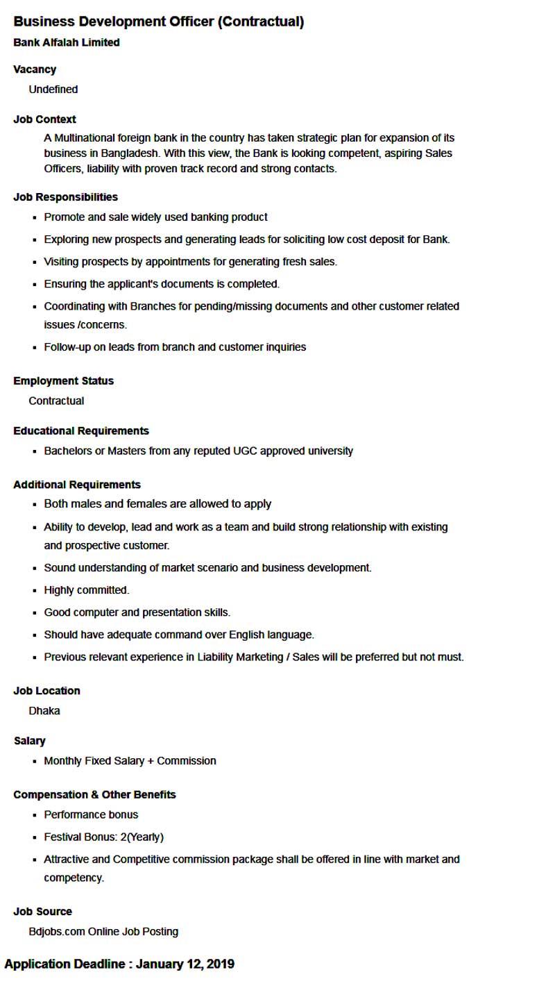 Bank Alfalah Limited Job Circular 2019