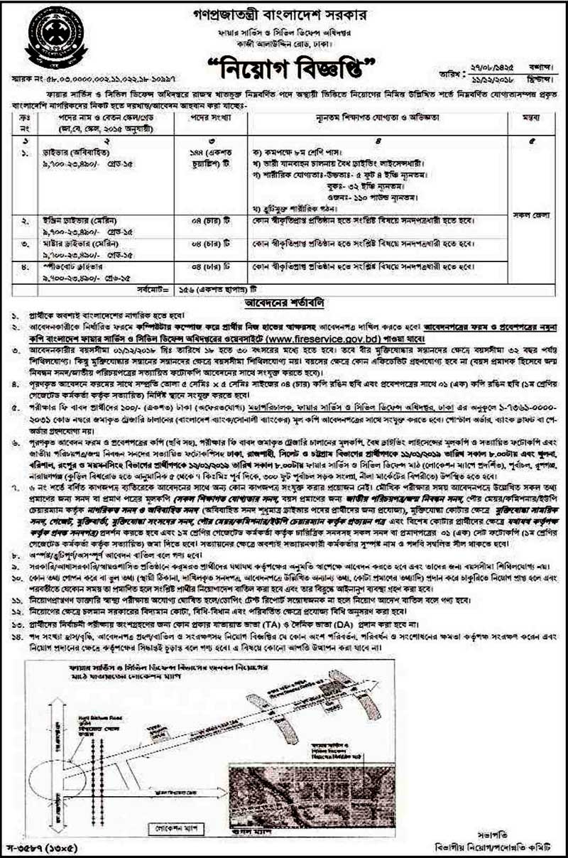 Fire Service Civil Defense Job Circular 2019