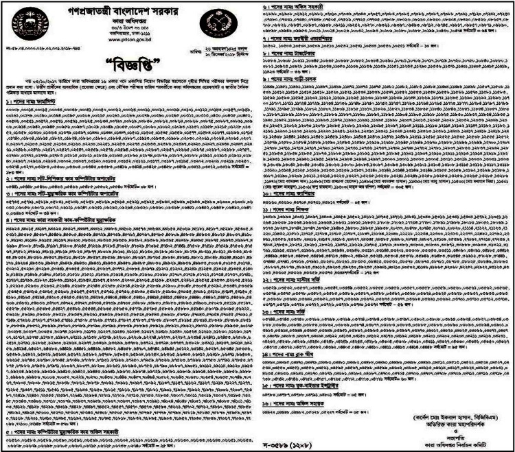 Bangladesh Jail Job Circular 2018