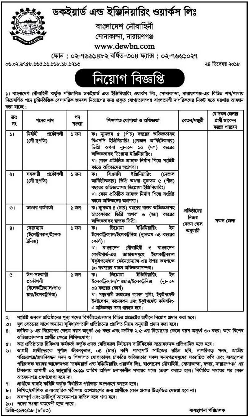 Bangladesh Navy Officer Job Circular 2019