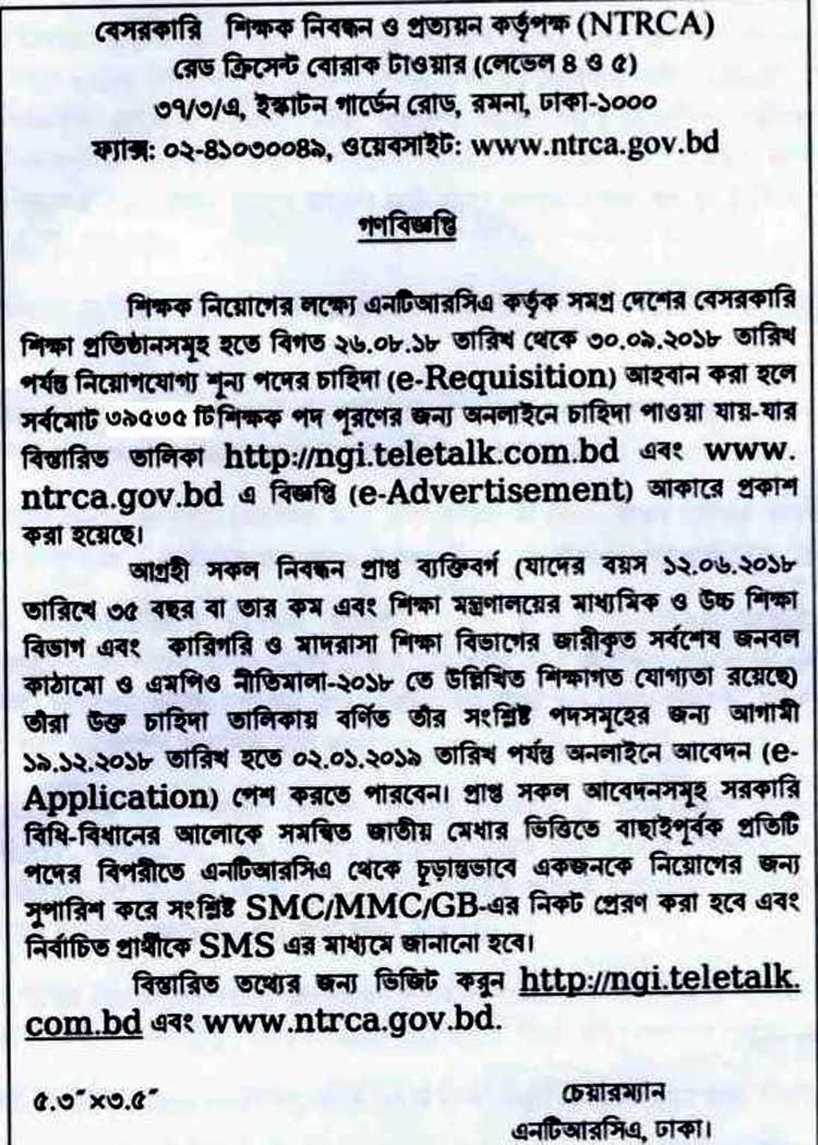 NTRCA Job Recruitment Vacant List 2018