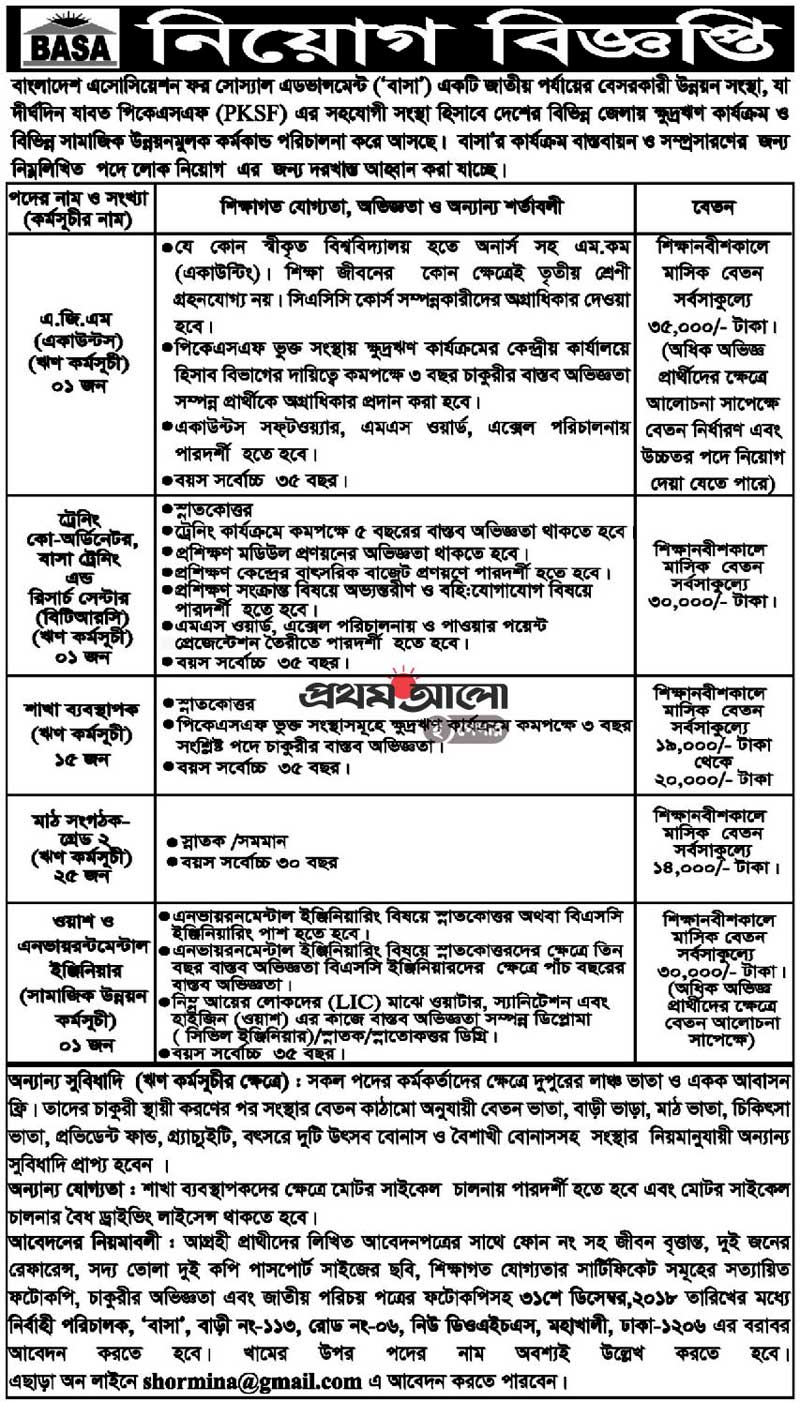 PKSF Job Circular 2018