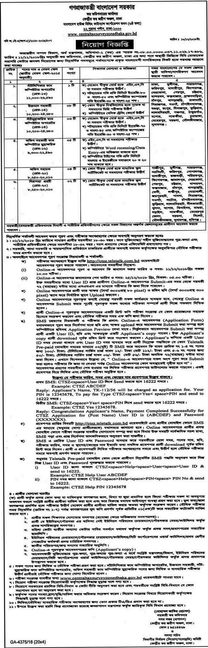 Tax Commissioner's Office Job Circular 2018