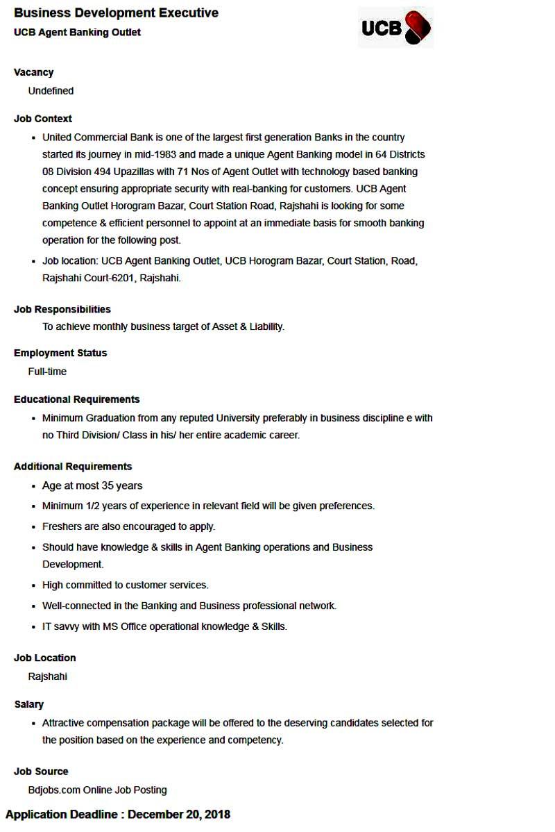 United Commercial Bank Job Circular 2018