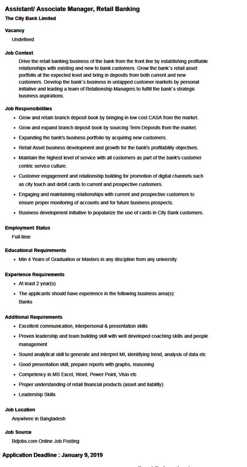 City Bank New Job Circular 2019
