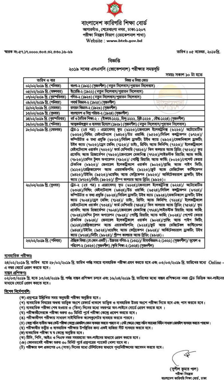 SSC Vocational Routine 2019