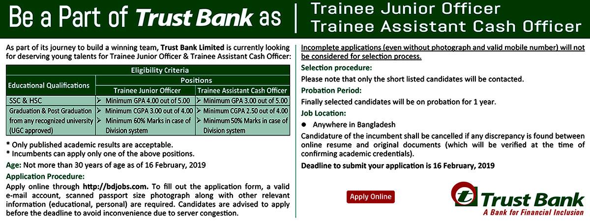 Trust Bank Job Circular 2019