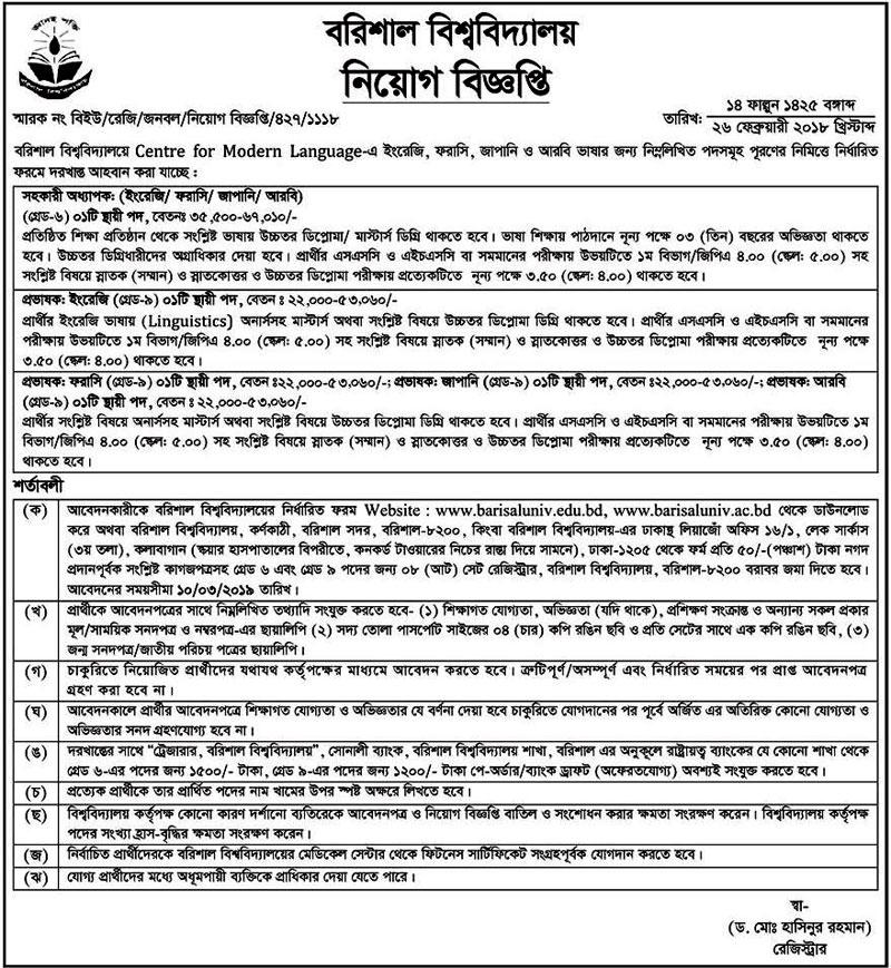 Barisal University Job 2019
