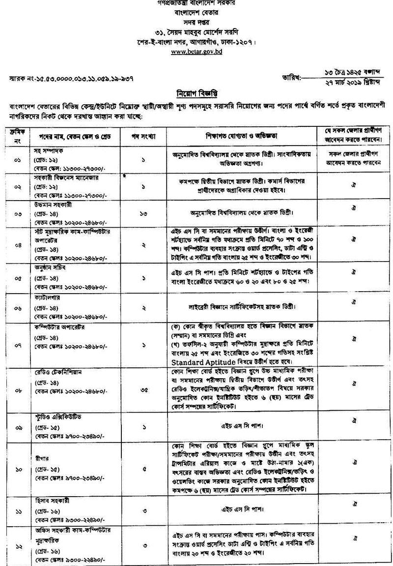 Bangladesh Betar Job Circular 2019