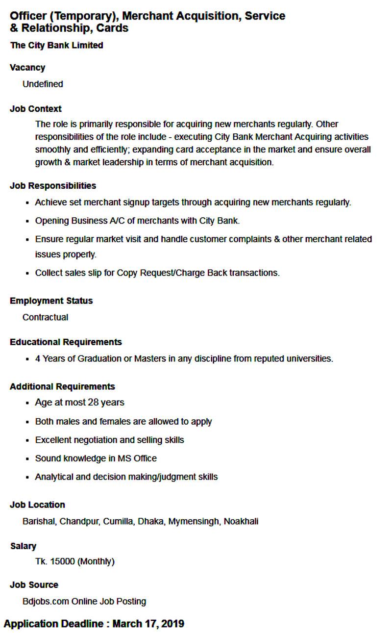 City Bank Job 2019