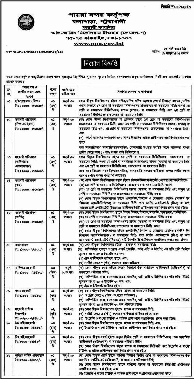 Payra Port Authority Job Circular 2019