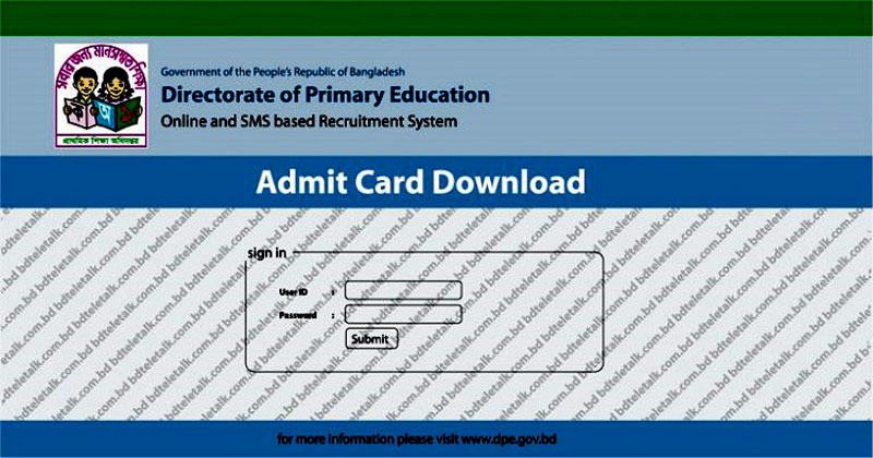 Primary Teacher Admit Card 2019