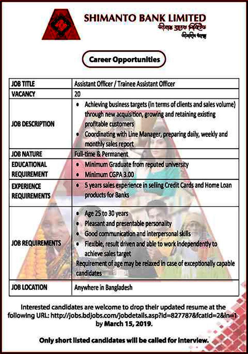 Shimanto Bank Job Circular 2019
