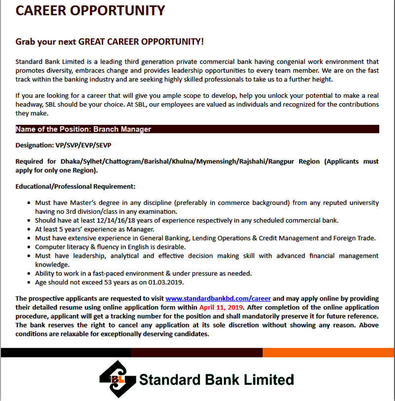 Standard Bank Job 2019