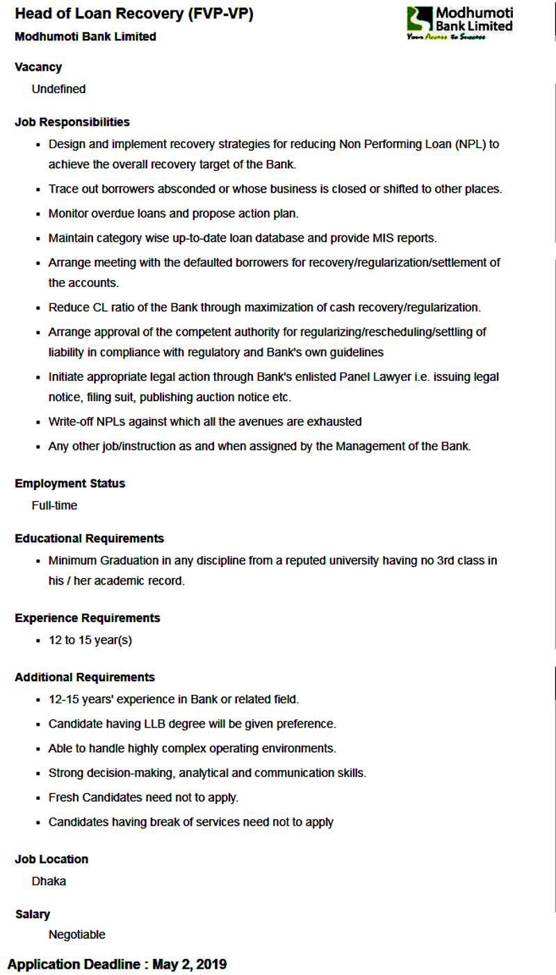 Modhumoti Bank Job 2019