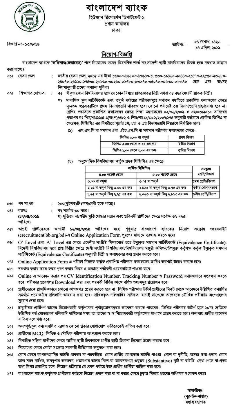 Bangladesh Bank Officer Job 2019