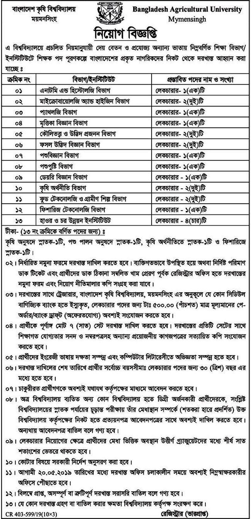 Agricultural University Job Circular 2019