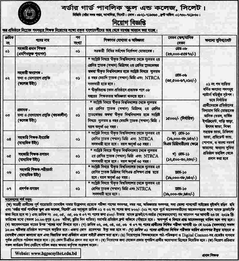 Border Guard Job Circular 2019