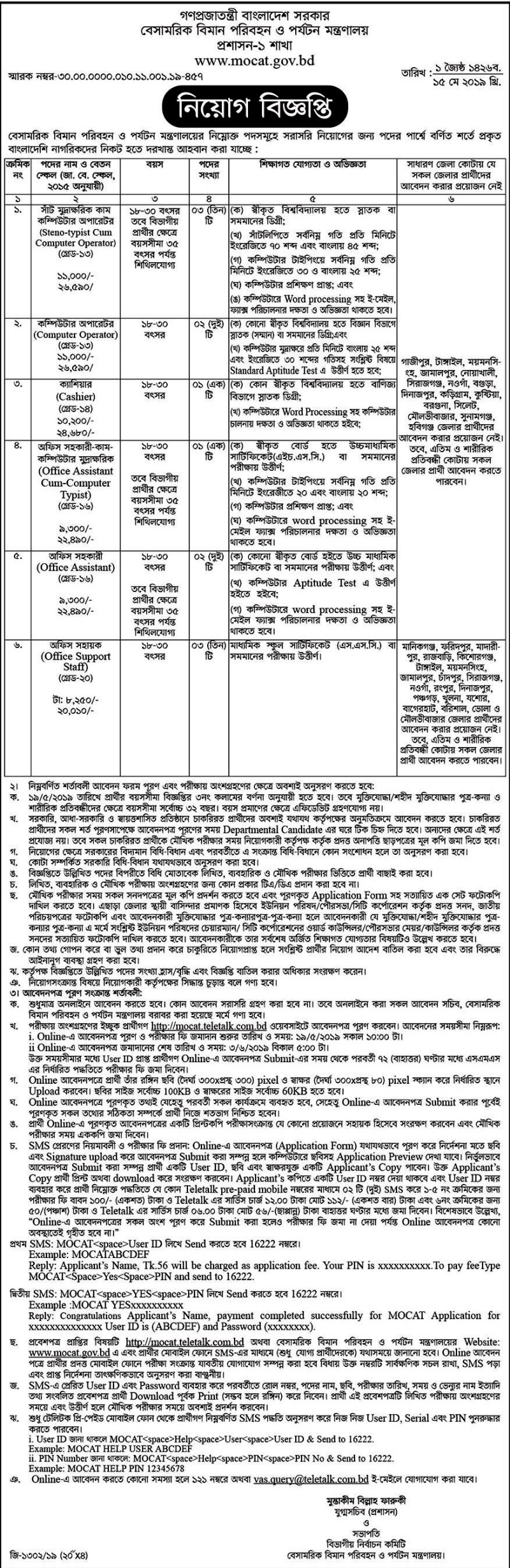 Civil Aviation and Tourism Ministry Job 2019