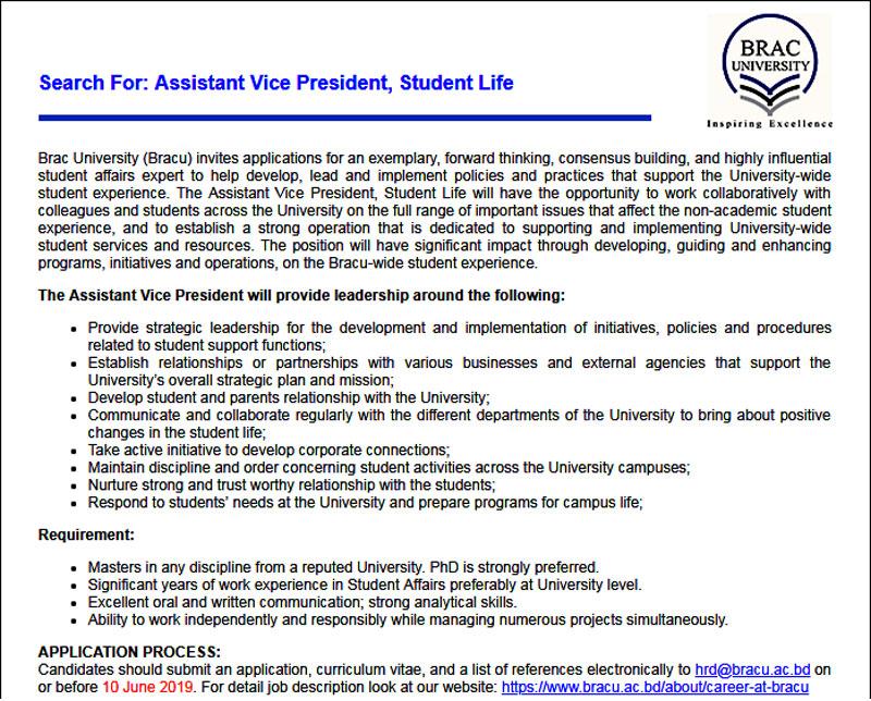 BRAC University Job 2019