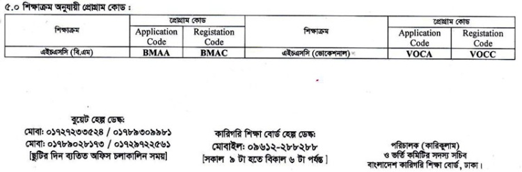 HSC VOC BM DIC Admission 2019-20