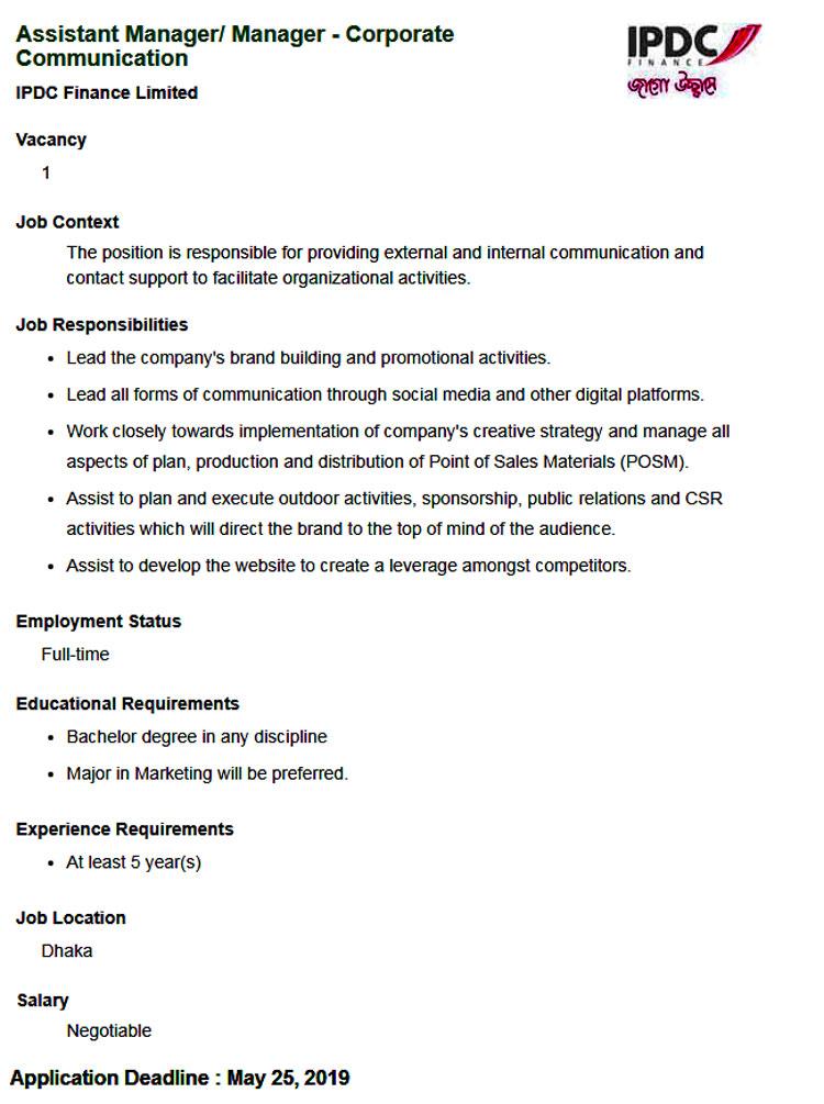IPDC Finance Job Circular 2019