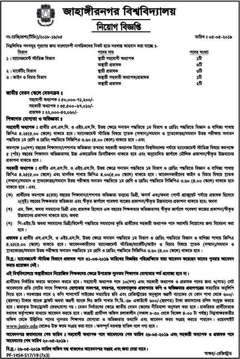 Jahangirnagar University Job 2019